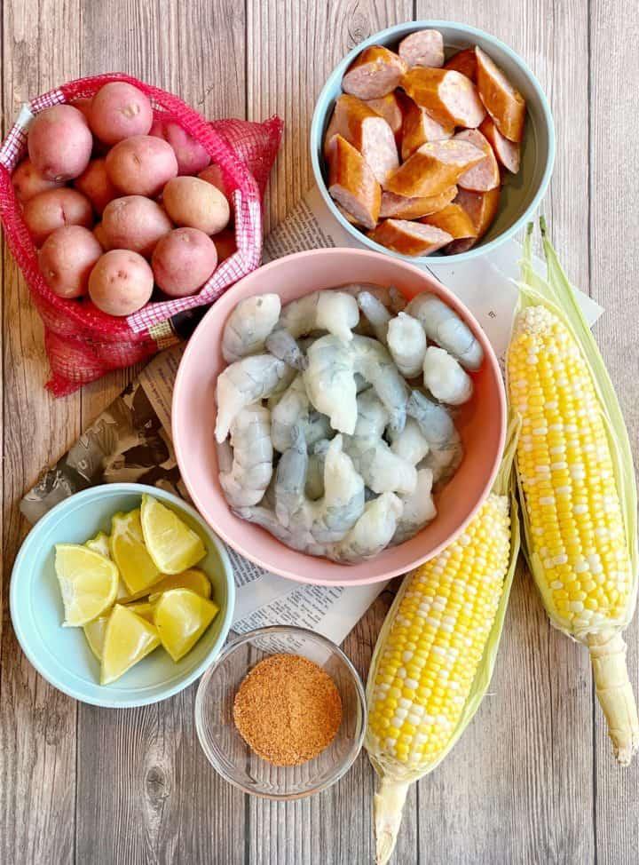 Ingredients of shrimp boil