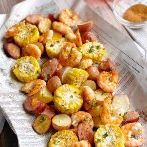 Close up of shrimp boil