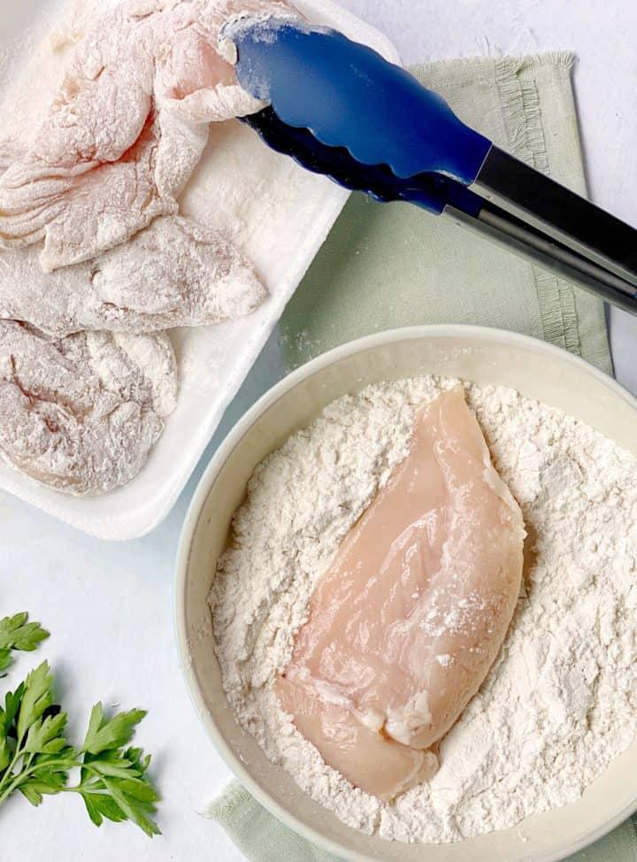 chicken breast dredged in flour