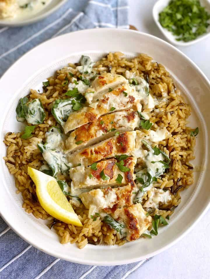 Plate of chicken florentine with rice