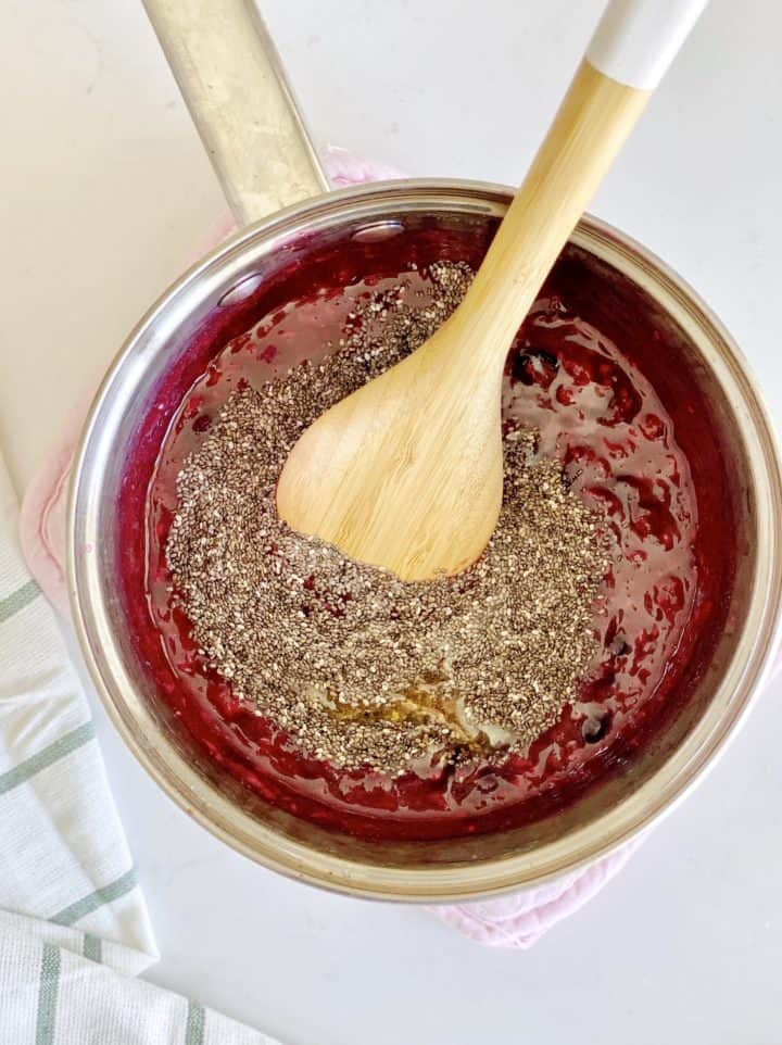 chia with jam mixed into berries