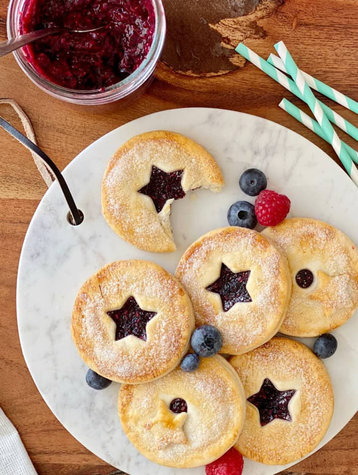 circle hand pies with chia jam and berries