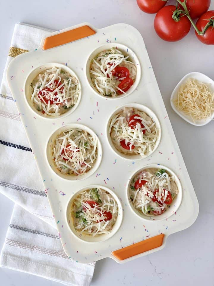 uncooked batter in muffin tins