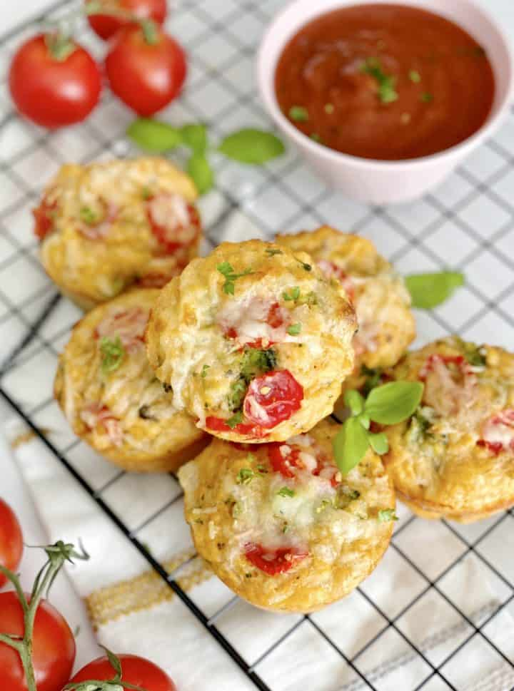 close up of stacked pizza muffins