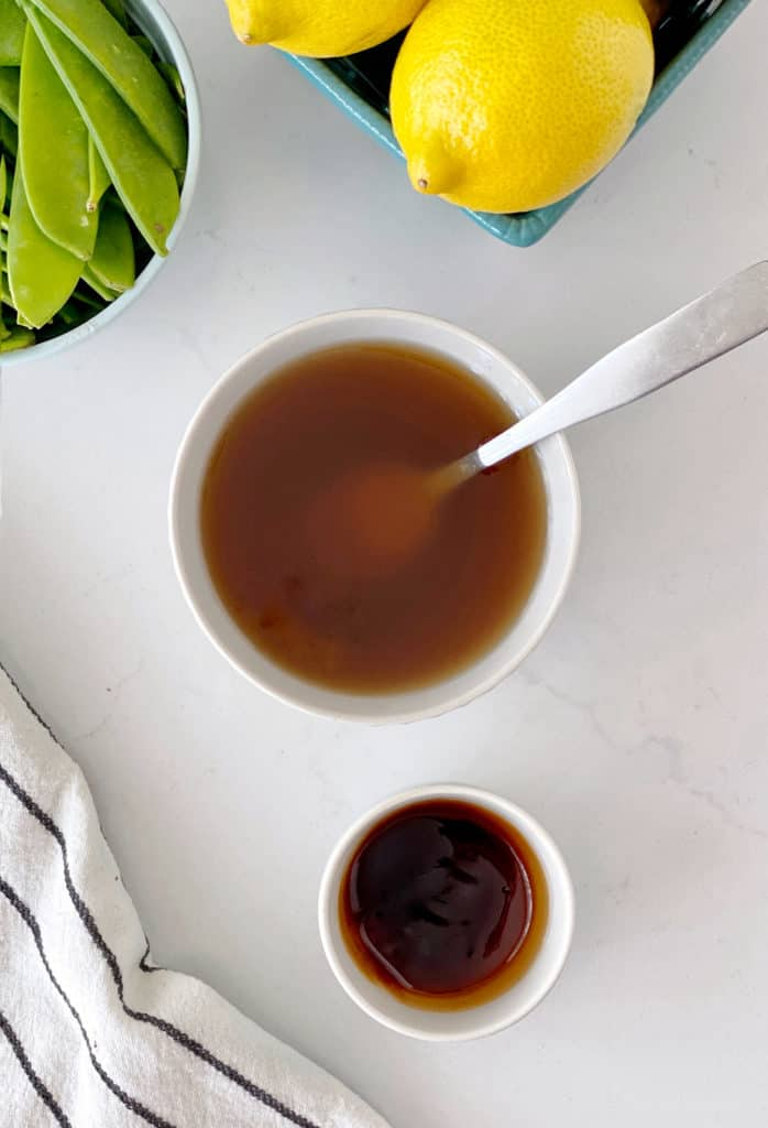 oyster sauce diluted with water next to soy sauce
