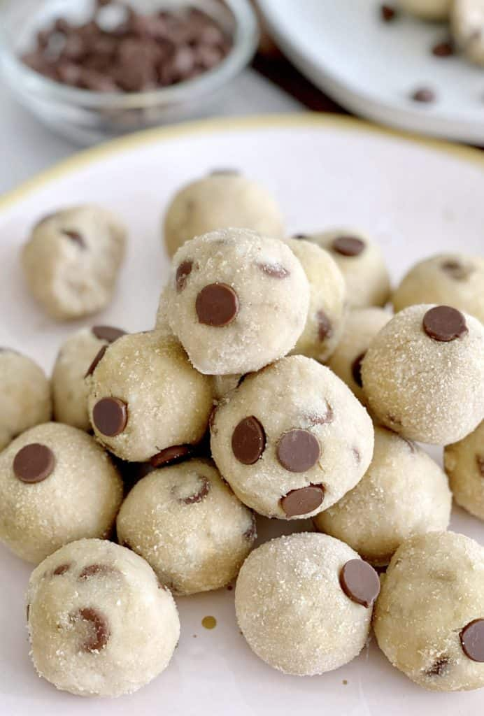 close up of cookie dough bites