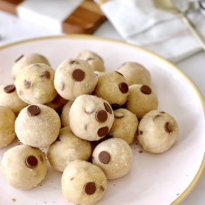 plate of cookie dough bites