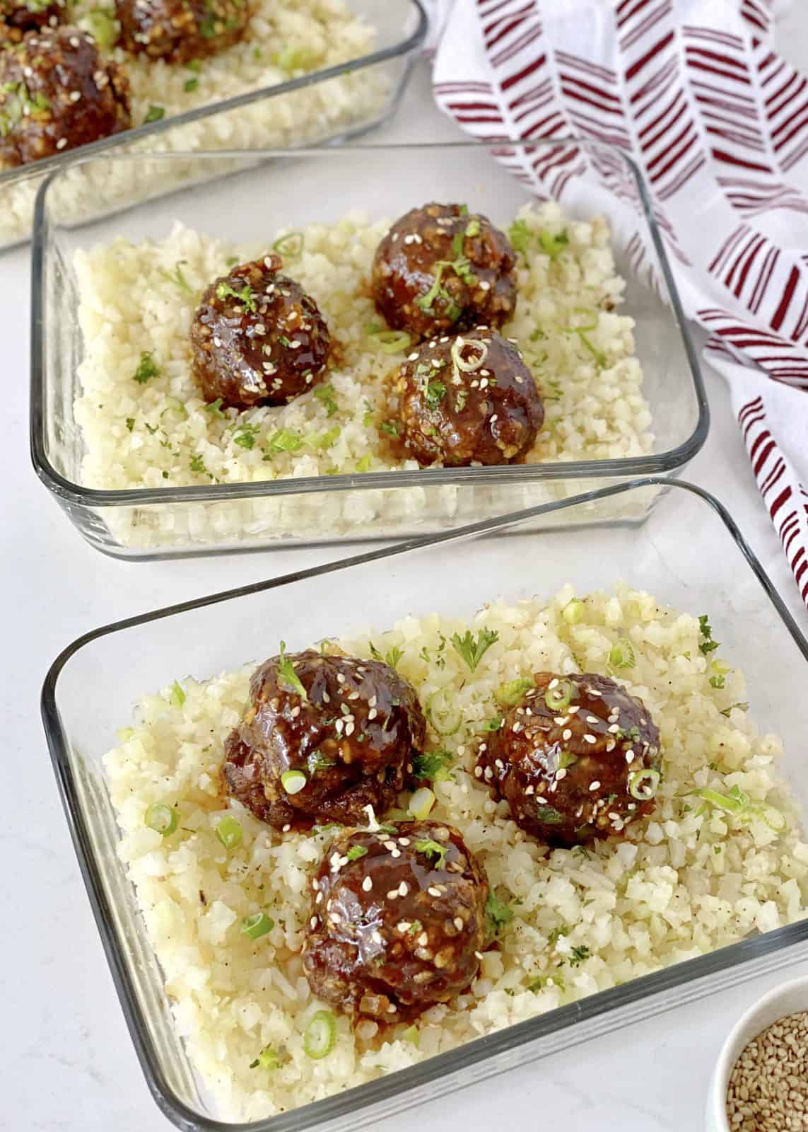 c;lose up of meatballs in glass containers