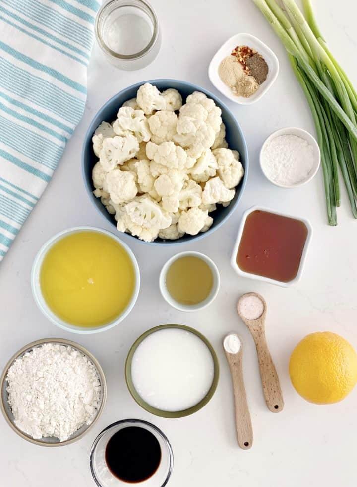 all ingredients for orange cauliflower