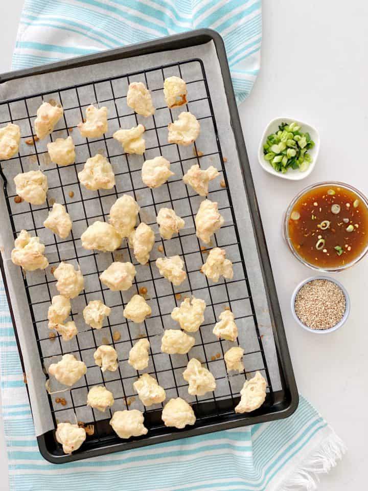 baked cauliflower on baking sheet