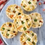 close up of mini pot pies on a marble tray