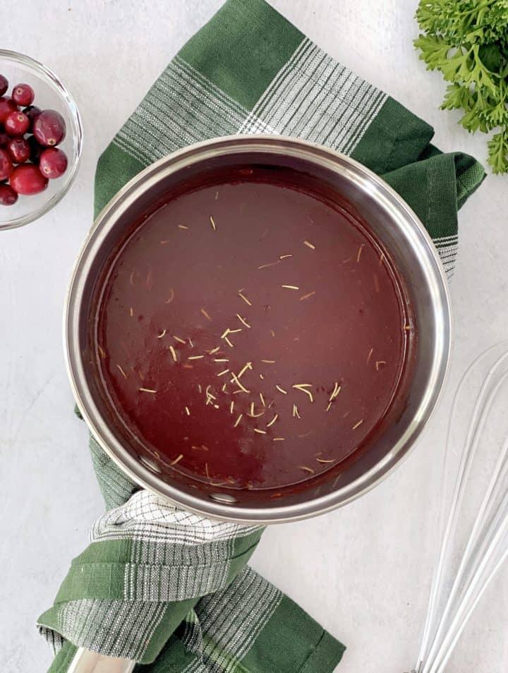 pot with cranberry sauce