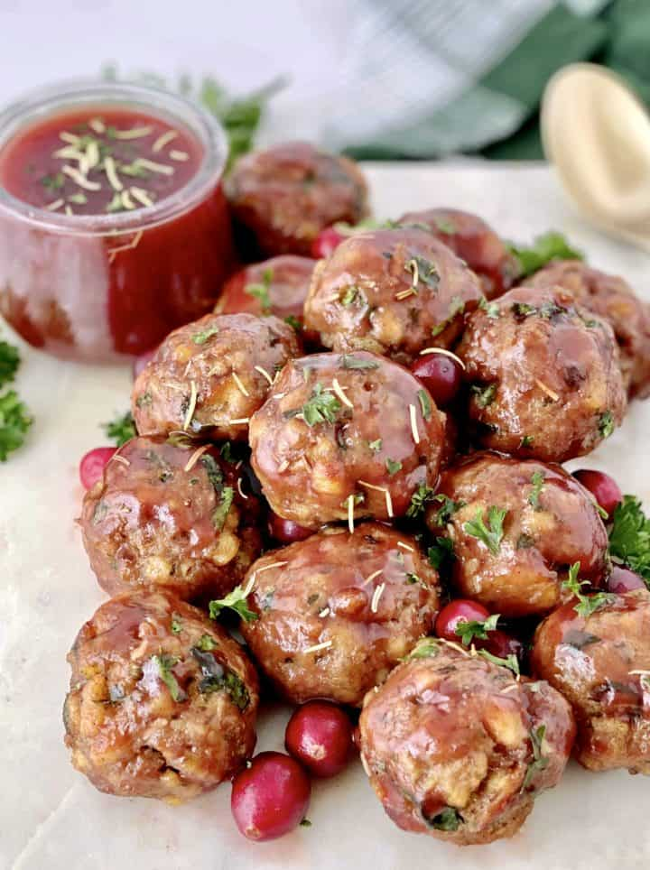 close up of meatballs with cranberry glaze