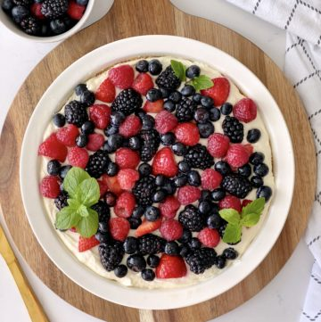 close up of berry cheesecake from ove rthe top