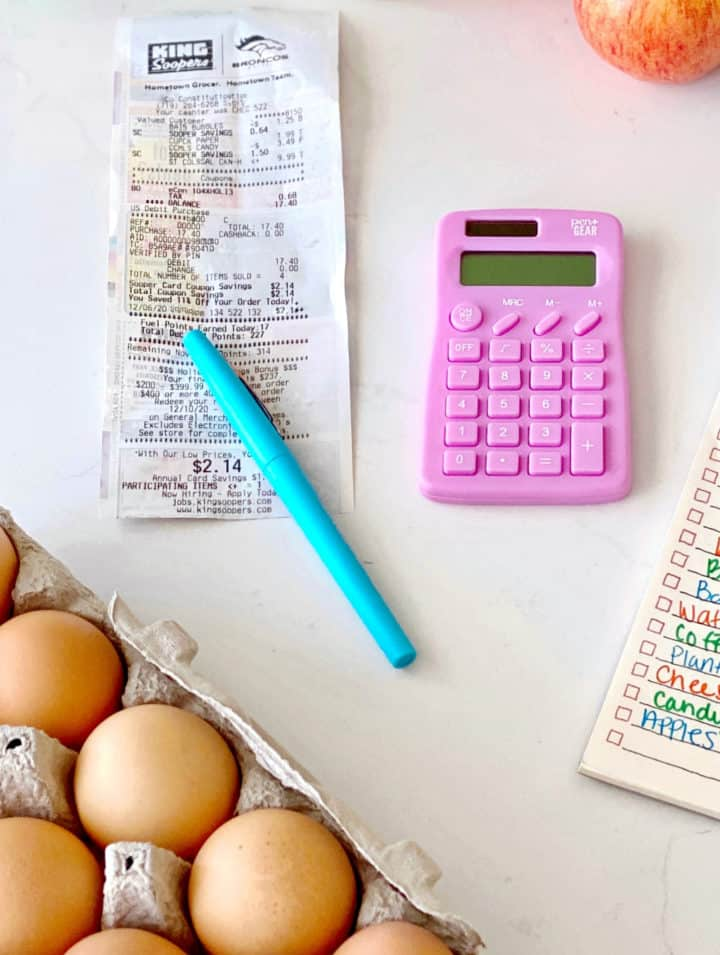 photo of eggs and receipt and calculator