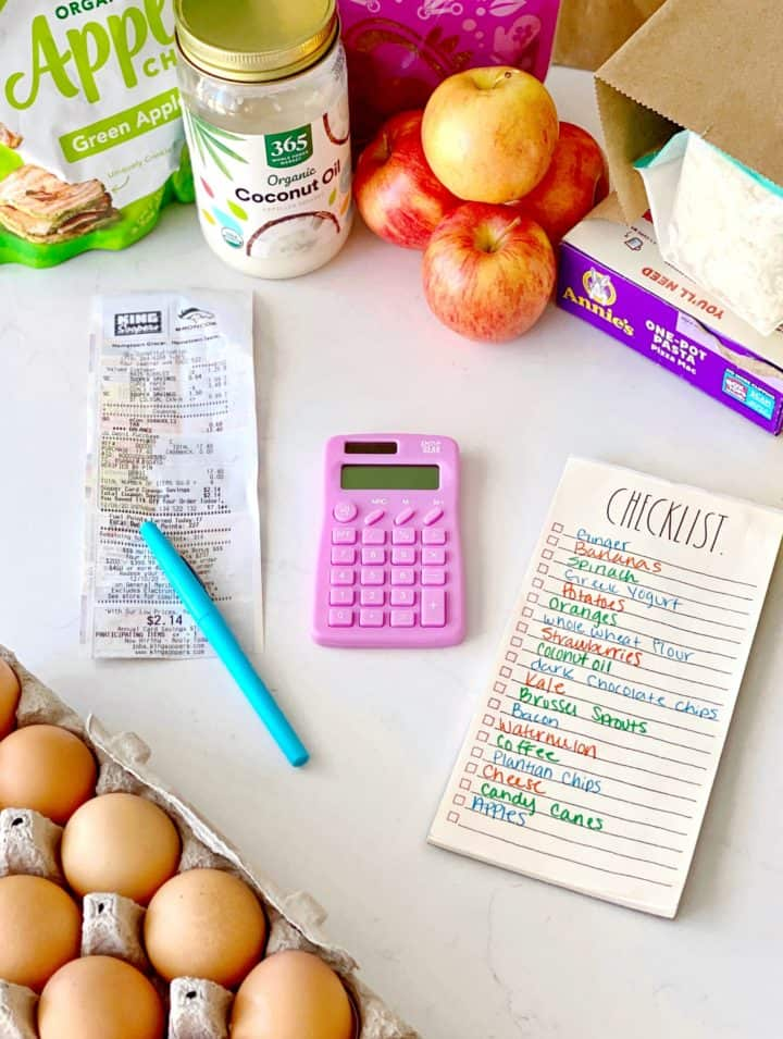 calculator with groceries