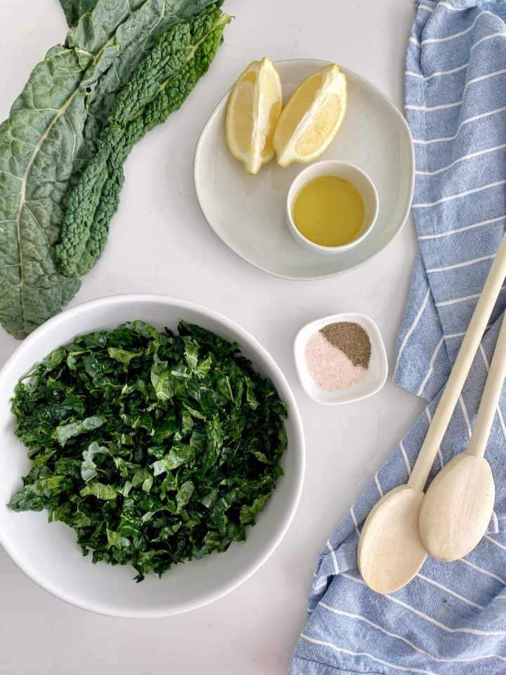 kale with lemon and spoon and kale