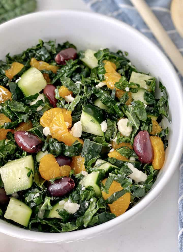 close up of kale salad