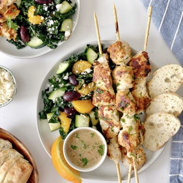 over the top shot of Mediterranean chicken and kale