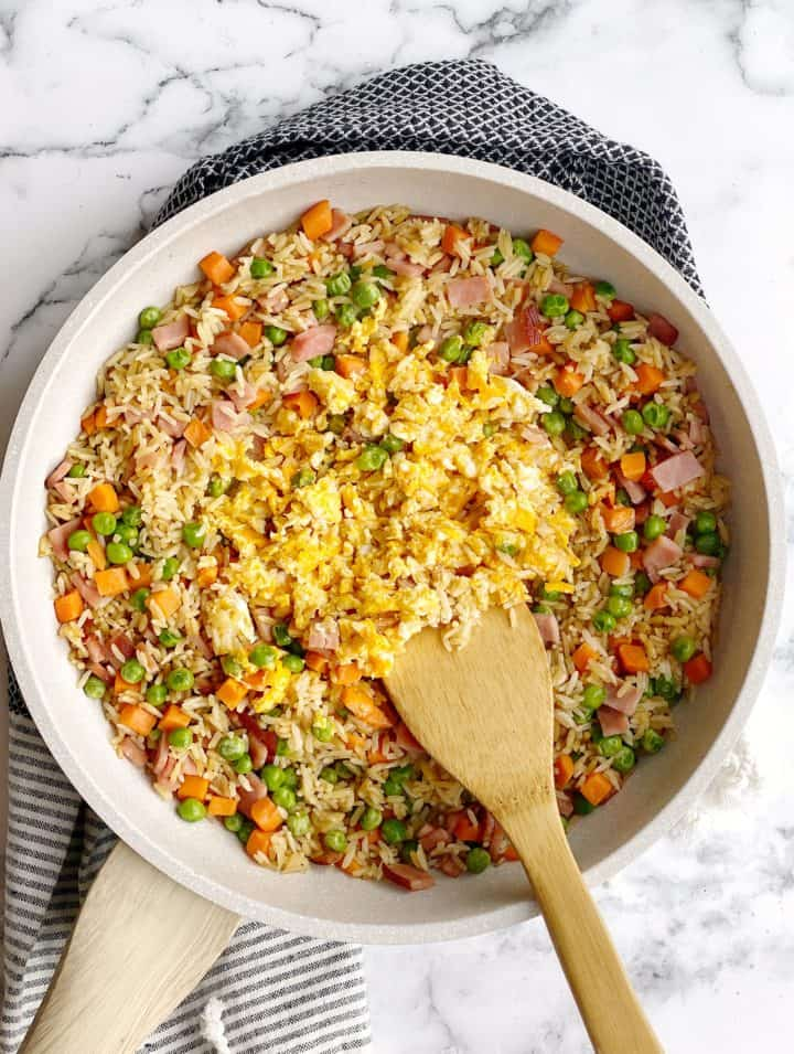 fried rice with cooked egg in the iddle