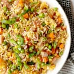 close up of fried rice with vegetables rice and ham