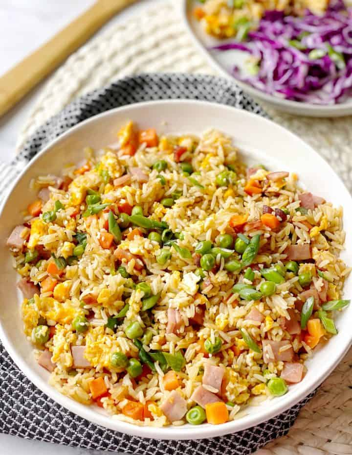 cooked ham fried rice in a bowl