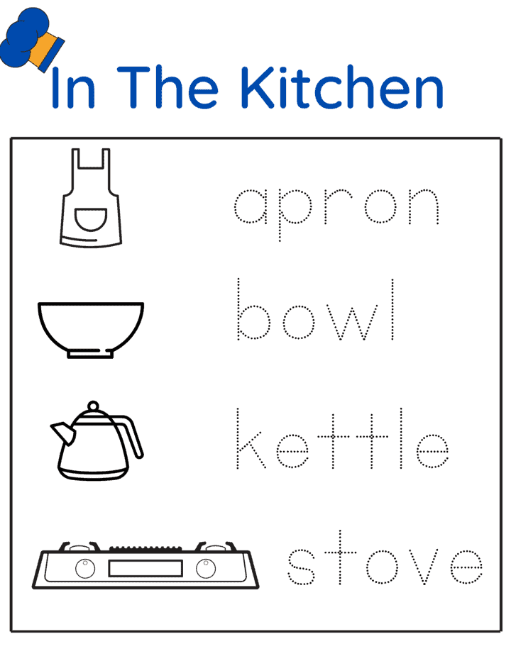 worksheet with tracing letters and kitchen utensils