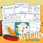kitchen activities worksheets mock up