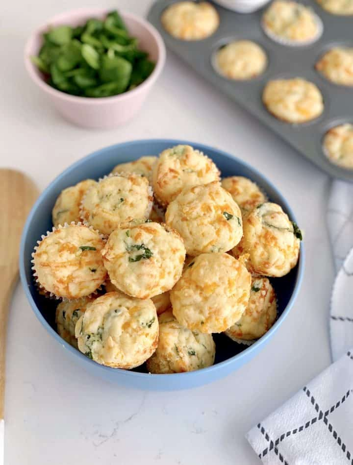 bowl of spinach cheese muffins