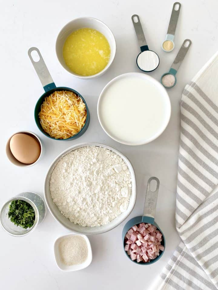 measured out ingredients in bowls and measuring cups