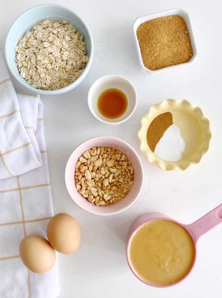 over the top shot of peanut butter cookies ingredients