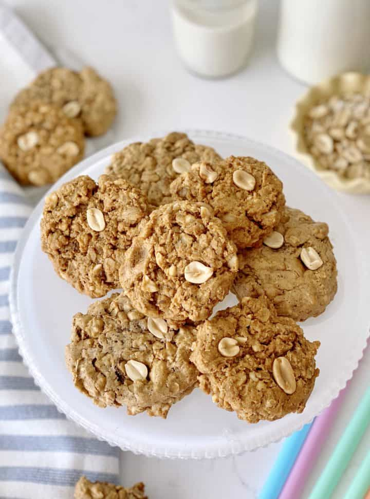 peanut butter oatmeal cookies on a plate