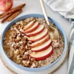 close up of overnight oats with apple and granola