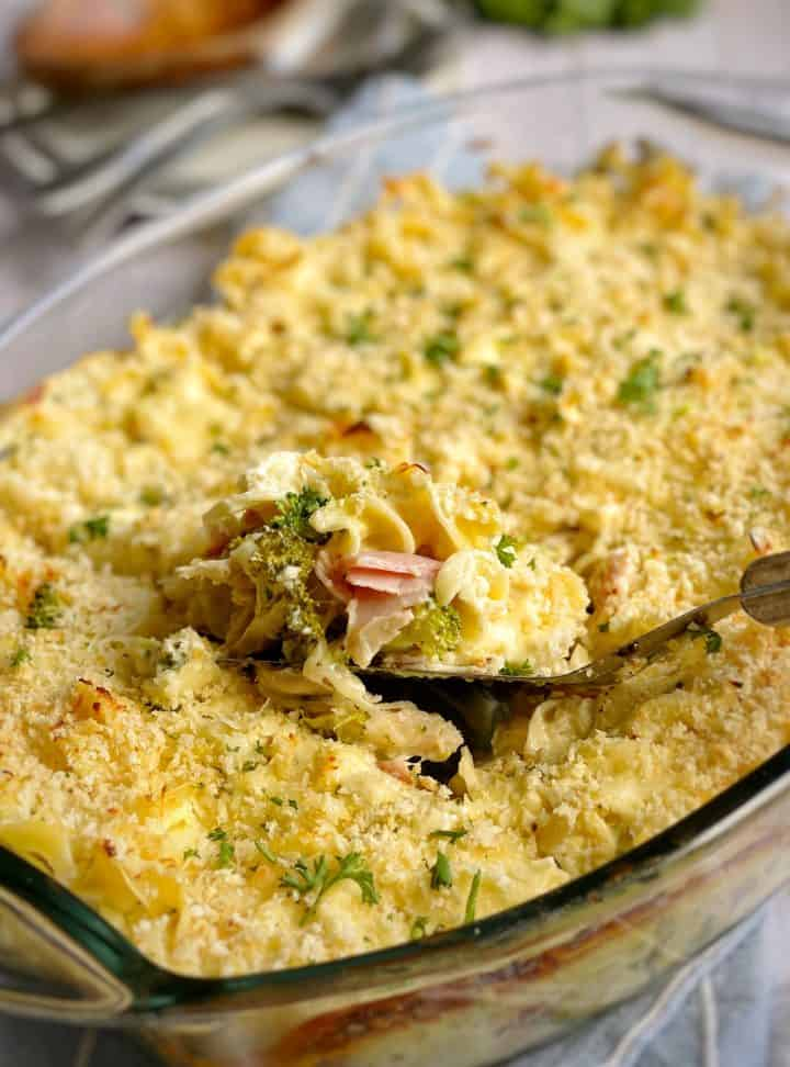 baked cooked casserole with spoon