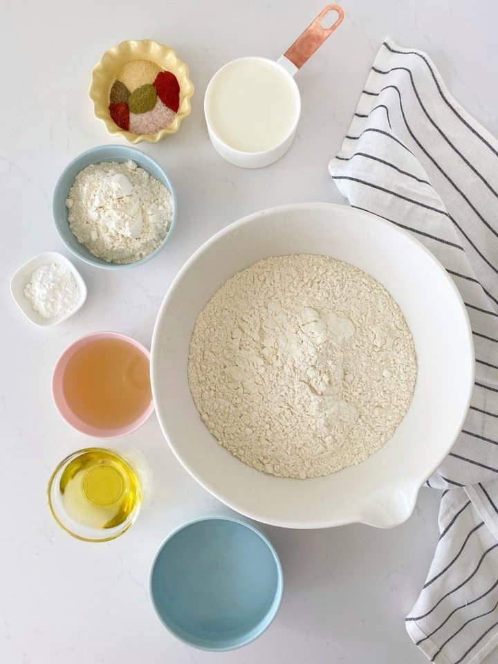 ingredients for vegan seitan over the tops shot in bowls