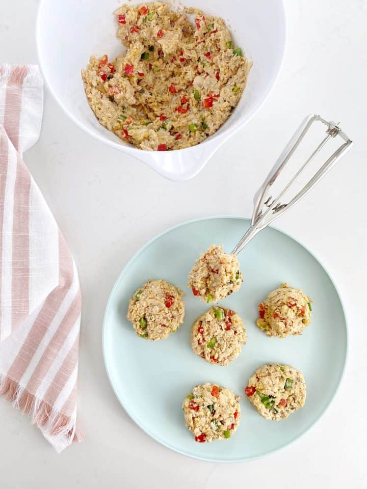 cookie scoop with salmon shaped croquettes