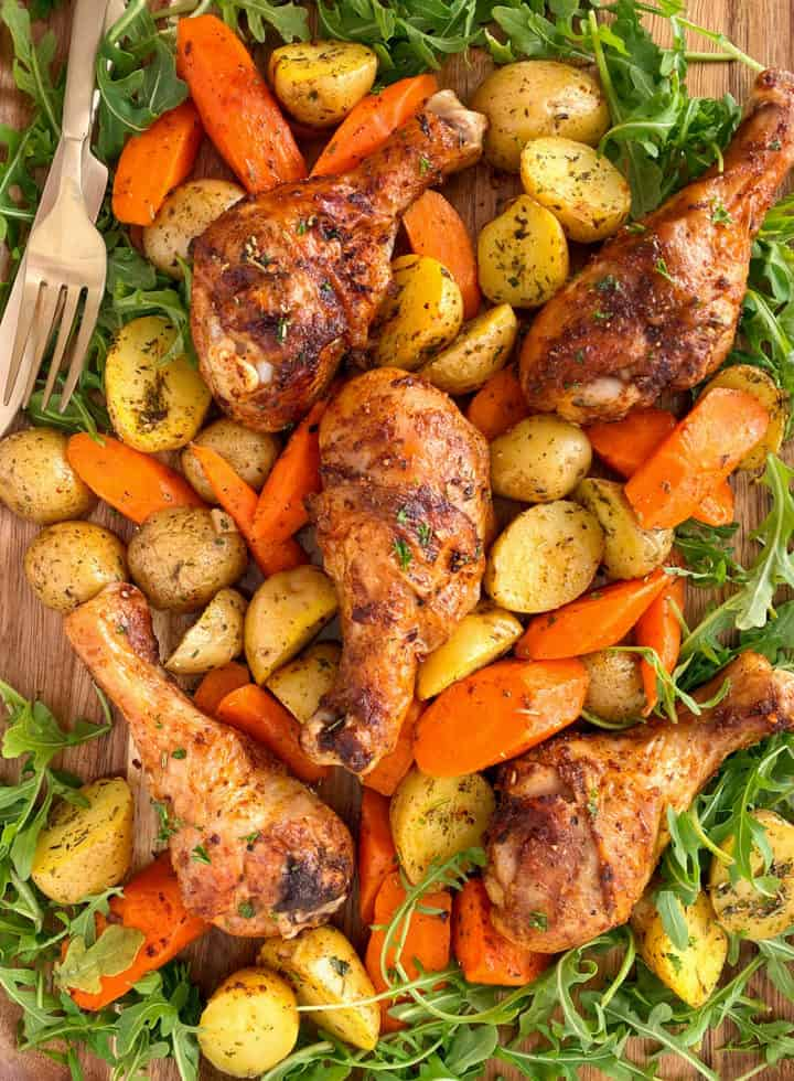 air fried chicken legs with roasted potatoes and carrots
