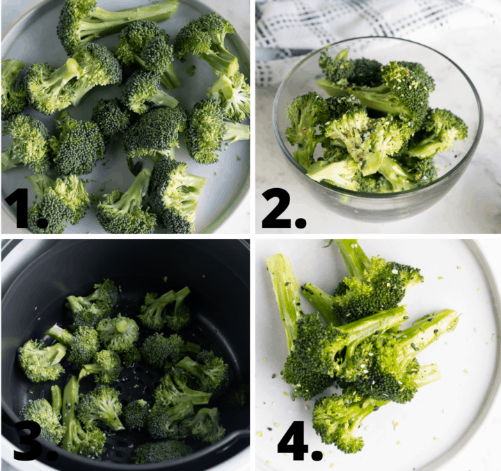 how to air fryer broccoli diagram
