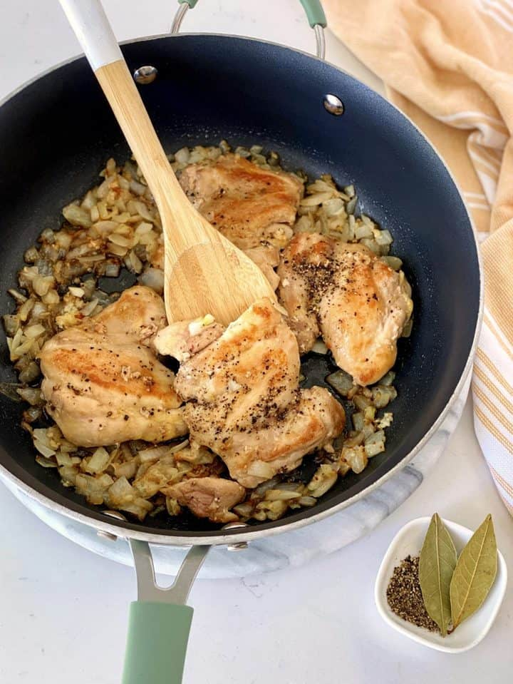 close up of chicken and onions and chicken