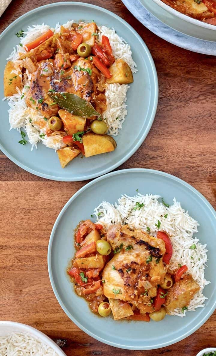 plates of chicken afritda and rice