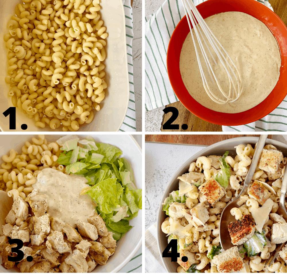 how to diagram to make caesar pasta salad