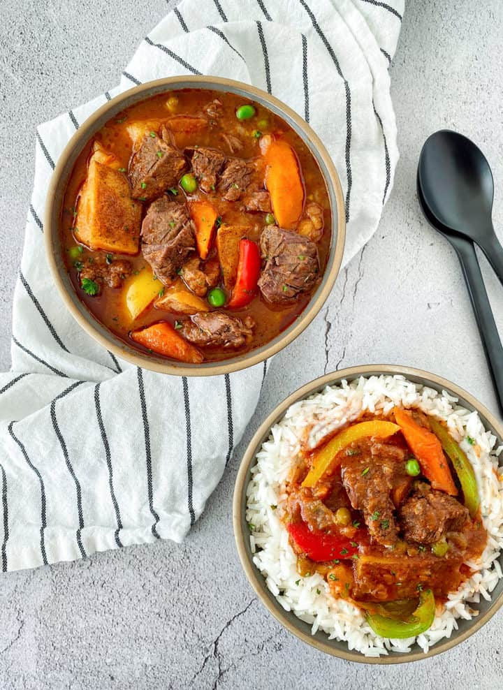 bowl of stew next to bowl of stew with rice