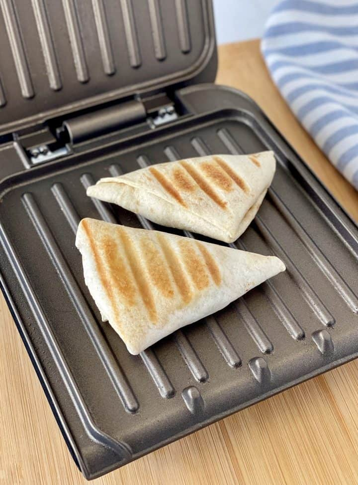 tortilla wraps on a grill