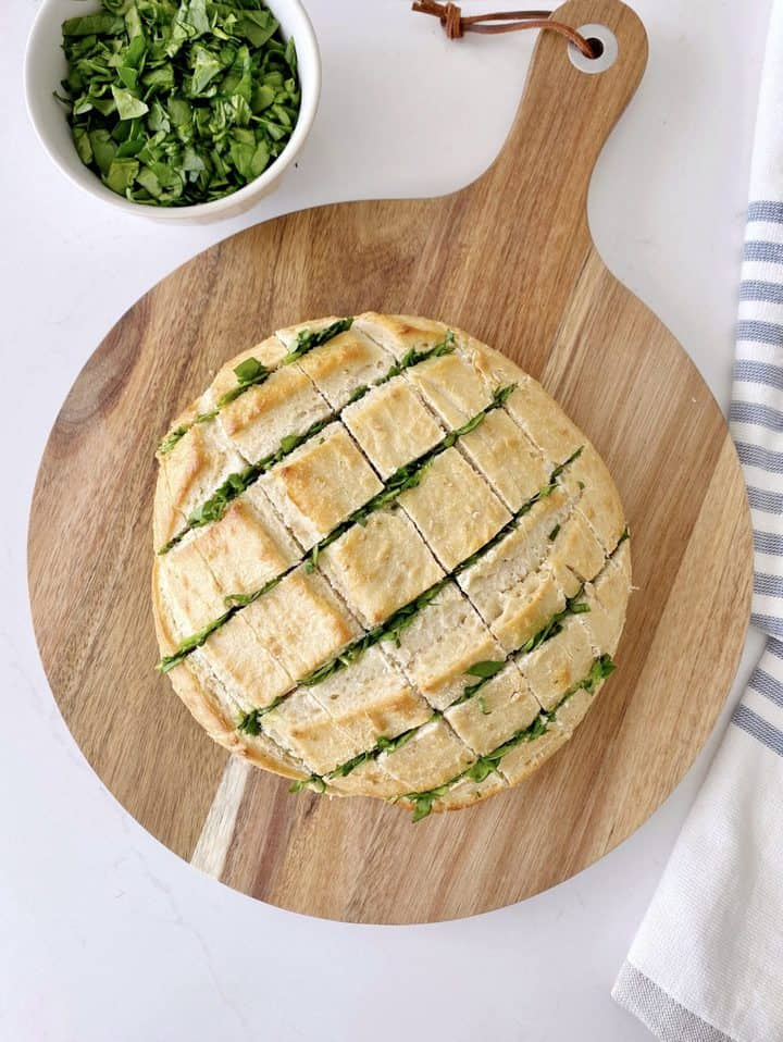 bread with spinach in cuts