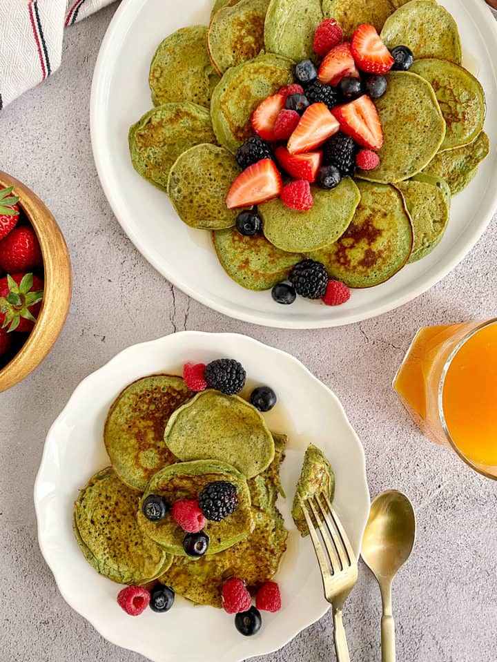 green pancakes on a plate