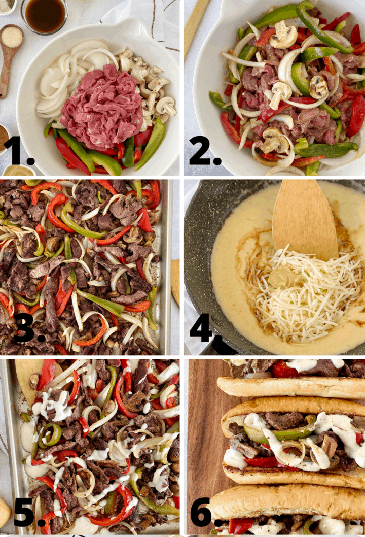 diagram of how to make philly cheesesteak