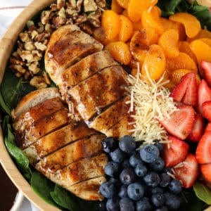 bowl of fruits and veggies and chicken