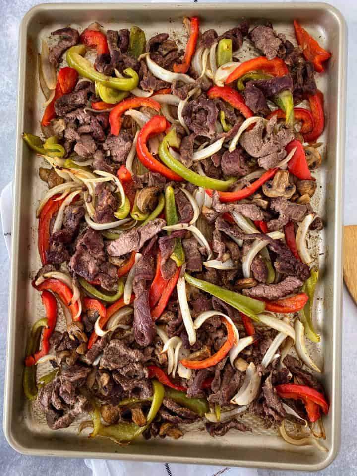 sheet pan of meat and vegetables