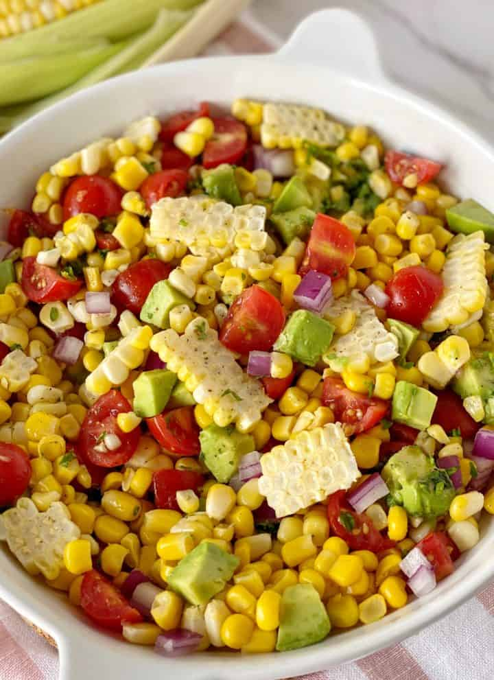 close up of avocado corn salad