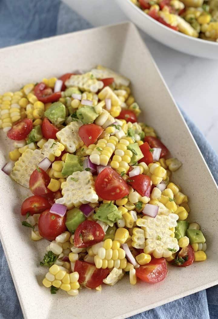 bowl of avocado corn salad